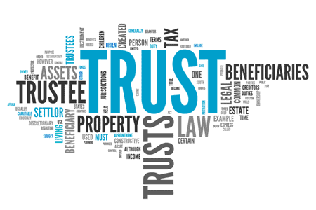 Collage of phrases about estate planning such as Trust, Trustee, Assets, beneficiary