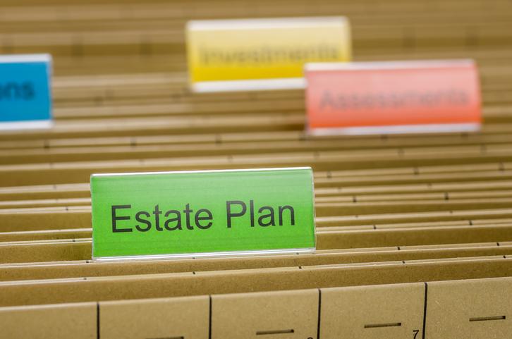 Hanging file folder labeled with Estate Plan